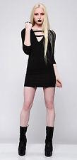 Lip Service House of Widow Black Pleather Strip 3/4 Sleeve Dress XS