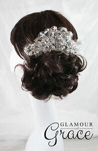 Ebony Vintage wedding bridal crystal lace comb hair accessories headpiece tiara