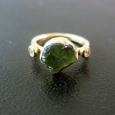 Handmade Natural Rough Green Apatite Ring W/ Topaz 22K Gold over Sterling Silver