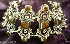 TAXCO MEXICAN 925 STERLING SILVER AMBER BEADED SCROLL BRACELET MEXICO