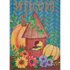 """""""Welcome"""" Bird Feeder, Pumpkins, Flowers Large Garden Art Flag 28"""" x 40"""""""