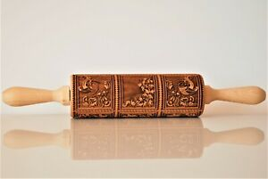 Springerle Engraved Rolling Pin  Embossed Dough Roller Carved Cookies Molds