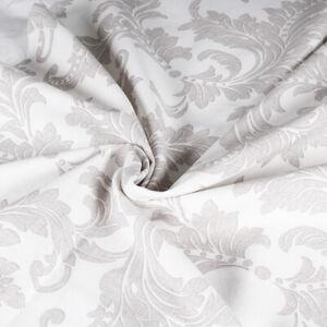 Tissu Coton Motifs Foglie Taupe Bas Crème Coupe 280x280 CM