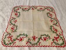 Vintage Hanky Handkerchief Hankie women's ladies green holly Christmas red bells