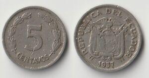1937 Ecuador 5 centavos coin