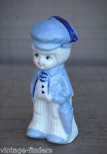 Old Vintage Porcelain Boy w Cap & Umbrella Figurine ~ Home Decor