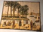 Antique Vintage 1920s HUGE 51h 99w Tapestry Camels Desert Palms Boats