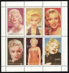 Abkhazia / Georgia _ Merilyn Monroe _ Minisheet - 6 Perforated Stamps - MNH **