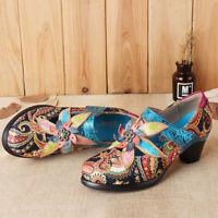 SOCOFY Women Genuine Leather Mid Heel Shoes Handmade Printing Pumps Hook Loop US