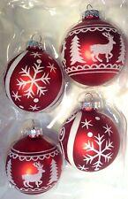 Christmas Ornament Set 4 Blown Glass Ball Red Glittery Snowflake Reindeer New