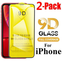 [2-Pack] For iPhone 11 Pro X XR XS Max 9D Tempered Glass Full Screen Protector