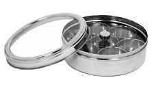 Tisha Stainless Steel Authentic Indian Spice Masala Dabba Tin Box Storage 7 Pot