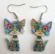 Pair of Acrylic Psychedelic Blue Cat Dangle Drop Earrings - Hippy Boho Vintage