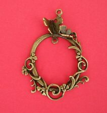 Vintage Style Antique Bronze Oval With Butterfly Connector Pendant 63x46mm- 2pcs