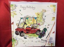 Golf Buggy Golfing Happy Birthday Card
