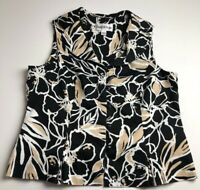 Danny & Nicole Women's Sleeveless Blouse Top 14P Multicolor Floral Button Up
