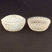 Two Vintage Fenton Opalescent White Hobnail Glass Round Trinket Dishes One Lid