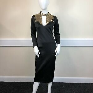 Ladies Black Gold Sequinned Top Long Sleeved Formal Ball Party Dress UK Size 12
