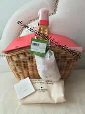 Kate Spade Picnic Perfect Strawberry Wicker Picnic 3D Basket Handbag w/ Dustbag
