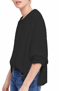 Free People Be Good Drop-Shoulder Sweater Black SIZE M $98 NEW