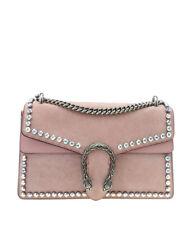 Gucci 400249 Dionysus Rhinestone Pink Suede Shoulder Bag
