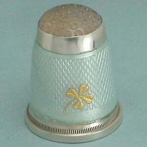 Antique Enameled Sterling Silver 4 Leaf Clover Thimble w/ Stone Top * C1900s