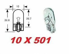 10 x 501 CAPLESS PUSH IN SIDE LIGHT FRONT BULBS BULB CAR VAN 5W 12V T10 W5W NEW