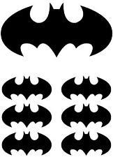 1 LARGE & 6 SMALL BATMAN LOGO IRON ON T SHIRT TRANSFERS WHITE/LIGHT FABRICS #2
