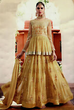 YELLOW HEVY DESIGNER ANARKALI SALWAR KAMEEZ SUIT PARTY DRESS MATERIAL LADIES DEN