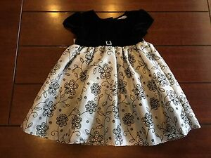 Youngland Dress Black & Silver floral design 36 months Beautiful