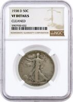 1938 D 50C Walking Liberty Silver Half Dollar NGC VF Details Cleaned Coin #032