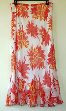 Cato Red & White Floral Lined Crinkle Poly Chiffon Maxi Skirt W/Gusseted Hem S