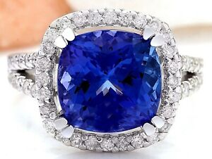 6.50 Carat Natural Tanzanite 14K White Gold Diamond Ring