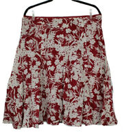 Banana Republic Red Floral Skirt 100% Cotton Pleated Tan Sheer Size 14