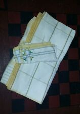 "VTG 50"" Linen Tablecloth w 1 Napkin Bridge Luncheon Yellow & Blue Stripes Card"