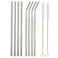8Pcs Stainless Steel Metal Drinking Straw Straws with 2 Cleaner Brush Kit Tool #