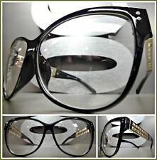 OVERSIZED VINTAGE RETRO CAT EYE Style Clear Lens EYE GLASSES Black & Gold Frame