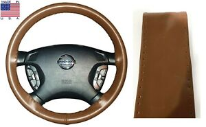 Tan Genuine Leather Steering Wheel Cover Grip Size C For Dodge Buick & More