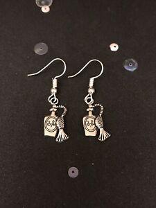 Silver Perfume Bottle Earrings. Vintage Style Dangly Charm Earrings. Jewellery