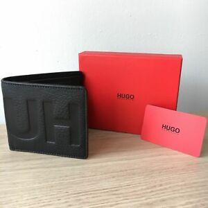 Hugo Boss Embossed Leather Bi-fold Wallet Victorian Black 50380097 - Boxed