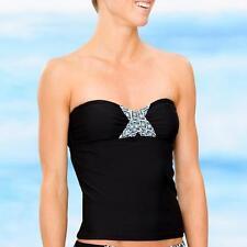 Athleta 34D 32DD Nwt Black Tide Pool Bandeau Tankini Swimsuit Top  34D 32DD