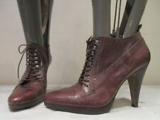 RIVER ISLAND HIGH HEEL BROWN LEATHER LACE UP ANKLE BOOTS UK 6 EU 39 (3460)