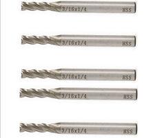 5x HSS CNC 1/4'' Shank 4 Flute Endmill Milling Cutter 3/16'' Drill Reamer Bit