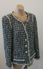 CHANEL Black and White Tweed Jacket with White Buttons & Floral Edging - 46