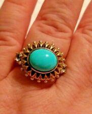 Barbara Bixby Turquoise & White Topaz Sterling 18K Gold Ring Size 8