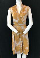 TOP SHOP Women's Grandad Collar Patterned Sleeveless Cotton Wrap Dress UK 12