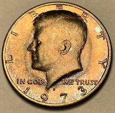 1973-D KENNEDY HALF DOLLAR UNC COLOR BU FLAWLESS GOLDEN BLUE SPOTTED TONED (DR)