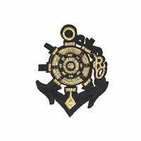 Golden Navy Anchor (Iron on) Embroidery Applique Patch Sew Iron Badge
