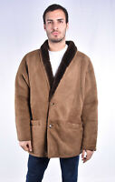 SHEARLING Suede Leather Sheepskin Montone Beige In Pelle TG XXXL Uomo Man