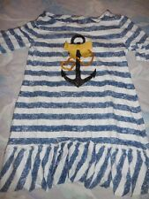 euc navy stripe nautical sequin anchor top girl ~ 12 free ship USA